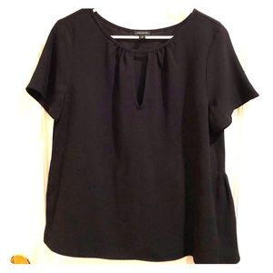 M - ANN TAYLOR Black Keyhole Top with Peplum Back